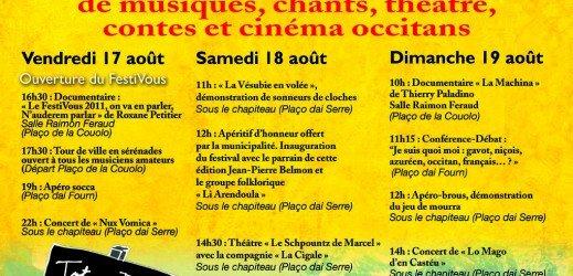 FESTIVOUS Festival occitan ILONSE « De Musico, de Chant e de Brous »  17, 18, 19 août 2012 GRATUIT