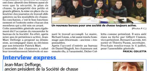 Didier Colletta, nouveau président de la société de chasse
